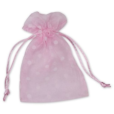 Fabric 6in.H x 4in.W Organza Bags, White Dots on Pink, 12/Pack