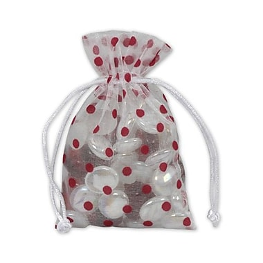 Fabric 6in.H x 4in.W Organza Bags, Red Dots on White, 12/Pack