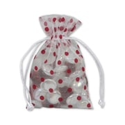 Fabric 6H x 4W Organza Bags, Red Dots on White, 12/Pack