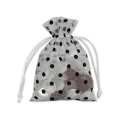Fabric 6in.H x 4in.W Organza Bags, Black Dots on White, 12/Pack