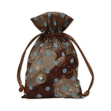 4in. x 6in. Polka Dot Organdy Bags, Blue on Brown