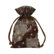 "Fabric 6""H x 4""W Organza Bags, Blue Dots on Brown, 12/Pack"