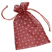 "Fabric 10""H x 6""W Organdy Bags, White Dots on Red, 12/Pack"