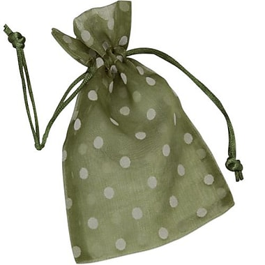 6in. x 10in. Polka Dot Organdy Bags, White on Ivy