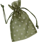 Fabric 10H x 6W Organdy Bags, White Dots on Ivy, 12/Pack