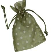 6 x 10 Polka Dot Organdy Bags, White on Ivy