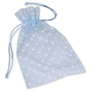 6 x 10 Polka Dot Organdy Bags, White on Ocean Blue
