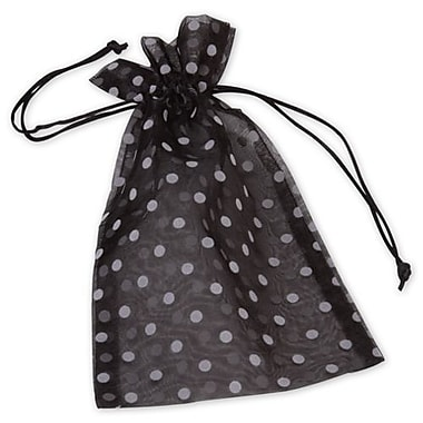 6in. x 10in. Polka Dot Organdy Bags, White on Black