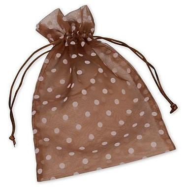 6in. x 10in. Polka Dot Organdy Bags, White on Mocha