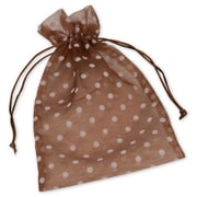 "Fabric 10""H x 6""W Organdy Bags, White Dots on Mocha, 12/Pack"