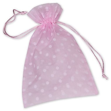 6in. x 10in. Polka Dot Organdy Bags, White on Pink