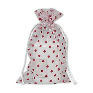 6in. x 10in. Polka Dot Organdy Bags, Red on White