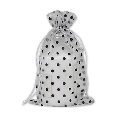 6in. x 10in. Polka Dot Organdy Bags, Black on White