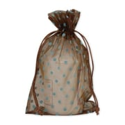 "Fabric 10""H x 6""W Organdy Bags, Blue Dots on Brown, 12/Pack"