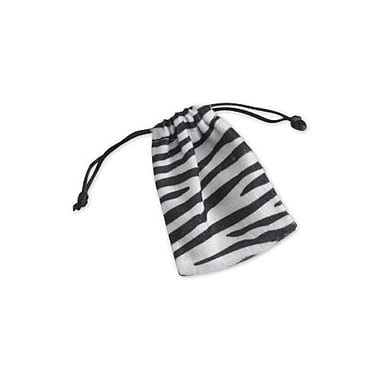 Zebra Drawstring Fabric 4in.H x 3in.W Gift Bags, Black/White, 12/Pack