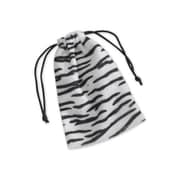 Zebra Drawstring Fabric 6H x 4W Gift Bags, Black/White, 12/Pack