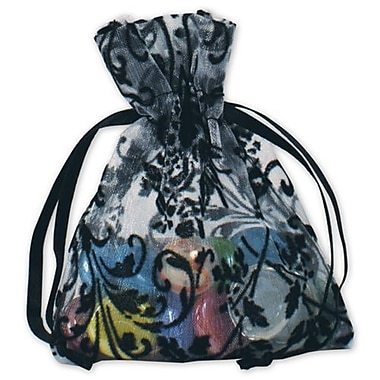 3in. x 4in. Damask Organza Bags, White