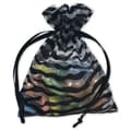 3in. x 4in. Zebra Organza Bags, Black/White