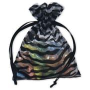 "Zebra Organza Fabric 4""H x 3""W Gift Bags, Black/White, 12/Pack"