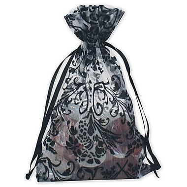4in. x 6in. Damask Organza Bags, White