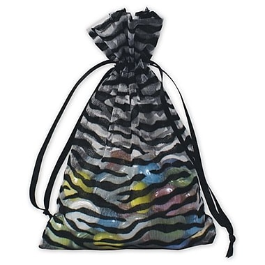 4in. x 6in. Zebra Organza Bags, Black/White