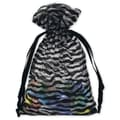 5in. x 7in. Zebra Organza Bags, Black/White