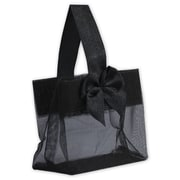 "3 1/4"" x 3 1/4"" x 2"" Satin Bow Mini Totes, Black"