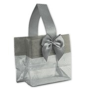 "3 1/4"" x 3 1/4"" x 2"" Satin Bow Mini Totes, Silver"