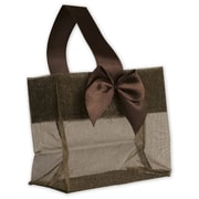 "3 1/4"" x 3 1/4"" x 2"" Satin Bow Mini Totes, Chocolate"
