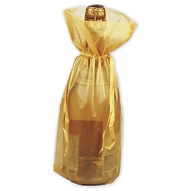 15in. x 6 1/2in. Sheer Organza Wine Bags, Gold