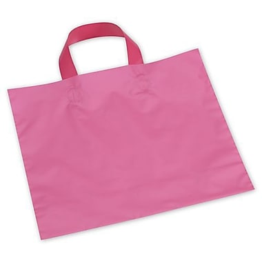 12in. x 10in. + 4in. BG Frosted Economy Shoppers, Hot Pink