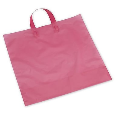 Polyethylene 15in.H x 16in.W x 6in.D Frosted Shopping Bags, Hot Pink, 250/Pack