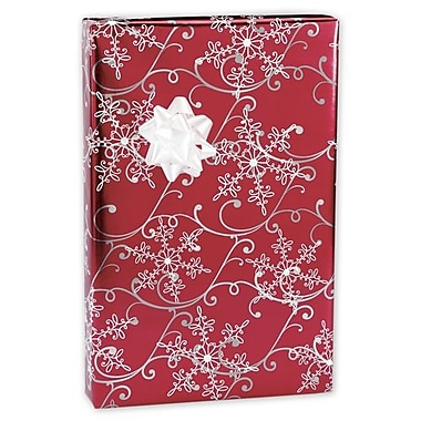 24in. x 417' Christmas Snowflakes Foil Gift Wrap