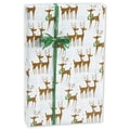 24in. x 417' Steppin' Out Gift Wrap, White/Brown/Green