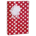 24in. x 100' Cherry Dots Gift Wrap, White on Red