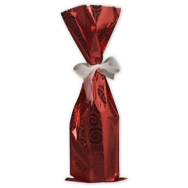 6 1/2in. x 20in. Mylar Wine Bags, Red