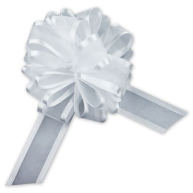 4in. Sheer Satin Edge Pull Bows, White