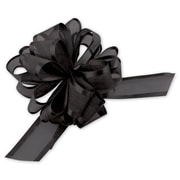 6 Sheer Satin Edge Pull Bows, Black