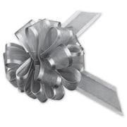 """4"""" Sheer Satin Edge Pull Bows, Silver"""
