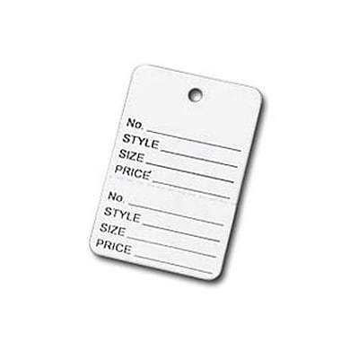 White Printed Garment Tag, 1 7/8in. x 1 1/4in.