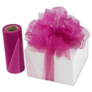 6in. x 25 yds. Sheer Sparkle Tulle, Hot Pink