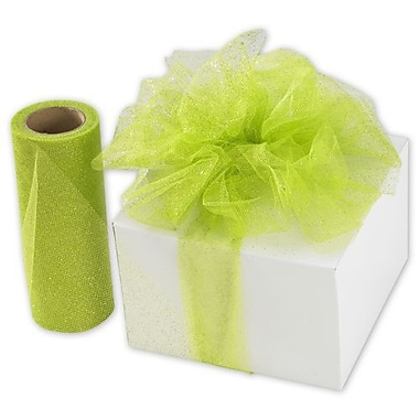 6in. x 25 yds. Sheer Sparkle Tulle, Apple Green