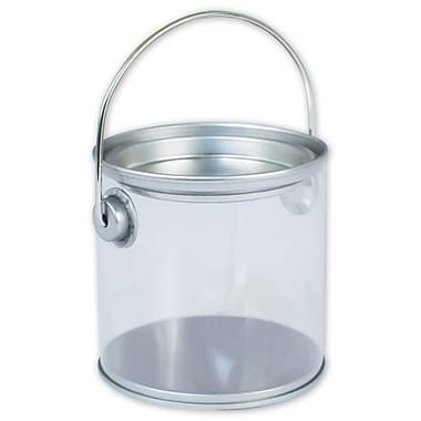 3in. x 3in. Pail, Silver/Clear