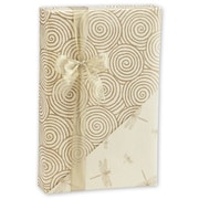 "24"" x 417' Dragonfly Swirls Reversible Gift Wrap, Cream/Gold"