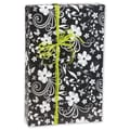 24in. x 417' Floral Gift Wrap, Black/White