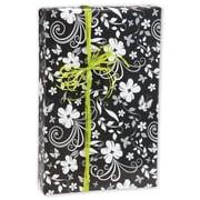 "24"" x 417' Floral Gift Wrap, Black/White"