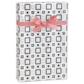 24in. x 417' Squares Gift Wrap, White/Black/Silver