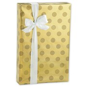 "24"" x 417' Dots Foil Gift Wrap, Gold"