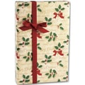 24in. x 100' Scripted Holly Gift Wrap, Gold