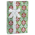 24in. x 417' Holiday Metallized Gift Wrap, Silver/Green/Red